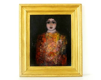 Large Aesthetic Portrait Painting - Original Oil Painting - Vintage 1970's - Ornate Gold Frame - Woman Painting - Figurative Art