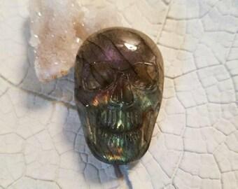 Carved labradorite skull cabochon // loose labradorite cabochon // flashy labradorite cabochon // purple labradorite skull // jewelry making