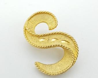 Vintage 1950's Gold Tone Letter S Brooch
