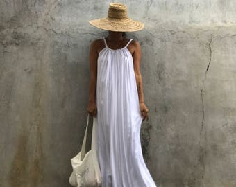 White  Maxi Dress, summer dress,prengnant woman,comfy,boho dress, beach cover up, Summer women dress, long dress,tall women dress