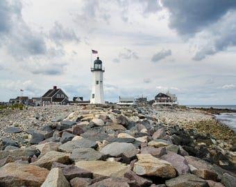 September sky drama, Scituate Light, MA, lighthouse photo, South Shore, Boston, nautical decor, New England, coastal, archival signed print