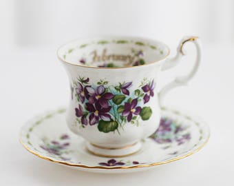 """Royal Albert's """"Flower of the Month-February"""" VIOLETS teacup and saucer-small size, Montrose-shape, c1990s"""