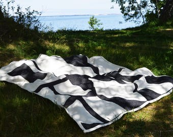 Cotton picnic  blanket - Summer plaid blanket - Two sided throw - Soft jacquard blanket - Beach blanket - Backyard throw - Big beach throw