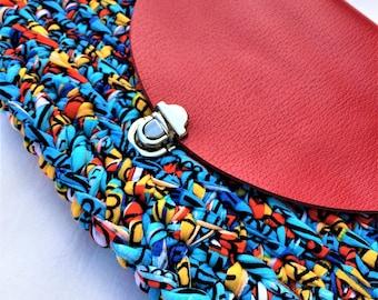 Handmade crocheted bag with leather cover/ Cotton yarn bag/ Trapillo bag/ Boho bag/ Clutch