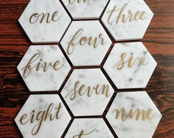 """3"""" Marble Hexagon Table Numbers, White and Gold"""