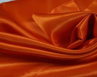 Orange Satin Fabric by the yard, bow making satin, decoration fabric, wedding satin, birthday party, anniversary, dress fabric, orange,