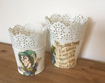 Pair of Alice inspired plant pots