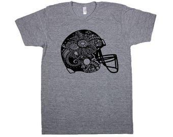 Kids Football Helmet Shirt, Youth Football Shirt, Football Tee, Football Helmet, Kid's Football Shirt, Printed Football Tee, Kid's Tee