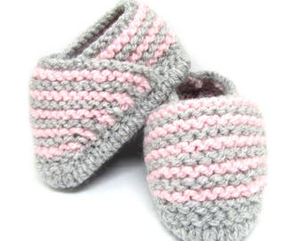 Espadrilles woolen slippers for baby - shoes for baby pink and gray - espadrilles - knitting