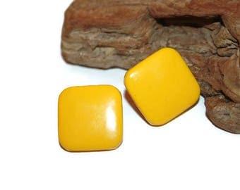 Sunny Yellow Earrings, Yellow Metal Earrings, Yellow Square Earrings, Vintage Earrings, 1980s Earrings, Post Earrings, Modern Jewelry