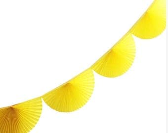 Yellow Paper Fan Garland - 10ft - honeycomb decor tissue fan bunting - Photo Backdrop wedding baby shower first birthday wall decor