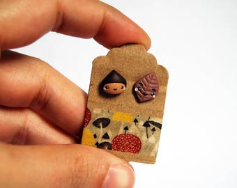 Studs chestnut and brown leaf fimo-Kawaii Collection Autumn