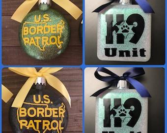 Border patrol, border Patrol ornamnent, Personalized, Glass Ornament, border patrol