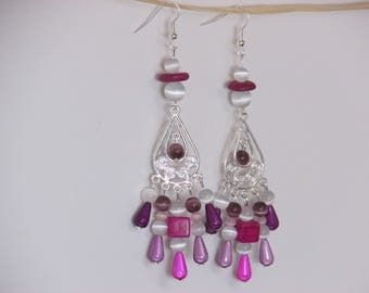 Earring hook and silver metal - synthetic howlitte - cat's eye and acrylic bead connector - ref47