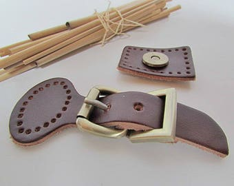 Bag of sewing - loop closure with leather strap, metal buckle and snap - 9