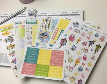 AJ6D355, Twit Twit Twoo. 6 Page Full Kit. Planner Stickers.