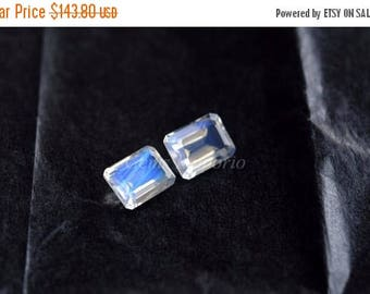 ON SALE Blue Moonstone 8x6 mm Faceted Octagon / Rainbow Moonstone / White Moonstone / Excellent Blue Sheen over the Surface / Price per piec