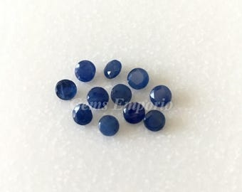 ON SALE Natural Blue Sapphires 4 mm Round Faceted. Dark Blue Color. Nice Quality. Price per piece.