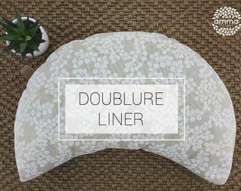 Liner zafu portable crescent Moon Amma Therapie   Yoga & Meditation Cushion   Buckwheat hulls   Cotton unbleach