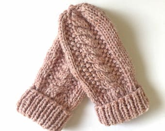 SALE %40 Cozy Cable Knit Mittens/ Winter Gloves/ Chunky Cable Mittens/ Wool Winter Mittens/ Womens Winter Fashion/ Soft Chunky Cable Mittens