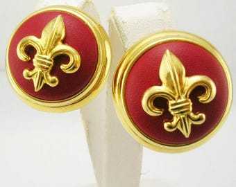 JOAN RIVERS EARRINGS - Clip On Earrings Fleur de Lis in Red  - S1461