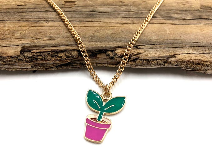 SPROUT: cute lil plant necklace on gold tone chain