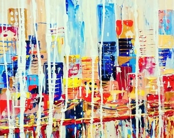 Abstract city; original painting on canvas