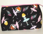 DANCING BALLERINAS 100% cotton fabric Cosmetic Bag, gift bag with full width opening and nylon zipper closure