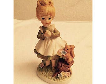 Vintage Ceramic Figurine - Girl with Squirrel