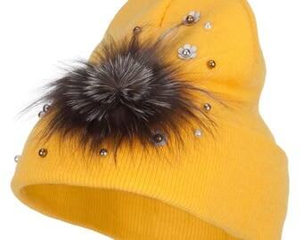 Flat Fur Snow Flake Cuff Beanie