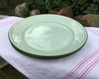 Vintage Mint Green Enamelware Plates, Set of 4, Camping Plates, Rustic, Cottage, Farmhouse Kitchen