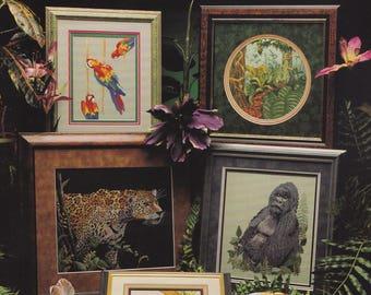The Rainforest, Cross My Heart Cross Stitch Pattern Booklet CSB-81 Cheetah Gorilla Zebra Toucan & More