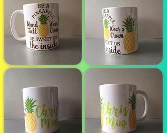 personalised mug cup be a pineapple stand call wear a crown be sweet quote cute