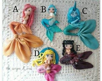 MERMAIDS: CLEARANCE SALE-cute mermaids polymer clay charms