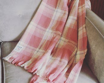 Faribo Pink Plaid Wool Blanket/ Faribault Pure Wool Blanket/ Pure Wool Plaid Blanket/ Vintage Wool Blanket