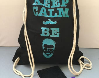 """Backpack cotton """"be"""" bearded black and TURQUOISE blue"""