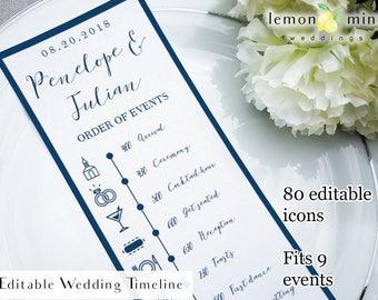 Navy timeline card, printable navy wedding timeline card, editable blue wedding timeline with icons, customizable wedding day timeline card