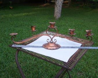 Vintage Gregorian Copper Candle Holder Made in USA Candelabra