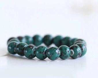 Boho Beaded Bracelet - women's bracelet, yoga bracelet, mala Buddha beads, gypsy hippie bracelet, stretch bracelet, ceramic beads, gift her