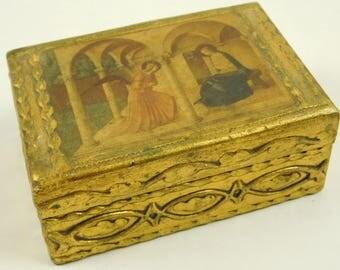 Religious Antique Italian Florentine Small Wood Hinged Lidded Box Mother Mary & Angel Trinket Dresser Desk Decor Gold Biblical Christian