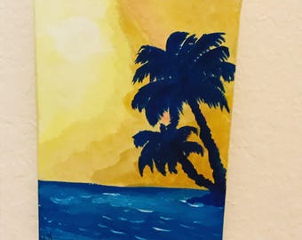 Maui sunset, palm trees, acrylic painting, ocean, beach life,