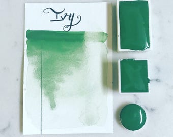 Ivy, green, watercolor, handmade watercolor, artist paint, handmade paint, art, painting,calligraphy, brush lettering
