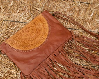 Brown Leather Bag * Leather Purse * Mandala Leather Purse * Mandala Leather* Shoulder Bag * Fringe Bag * Fringe Leather Purse BP008 C