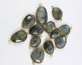 SUMMER SALE 12 Pieces Labradorite Bezel  24K Gold Plated Double Bail Connector, 29mm x 16mm Ngsn 021
