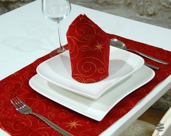 Top Quality Christmas Stars Red Table Placemat - Anti Stain Proof Resistant - Large Hem - Pack of 2 units