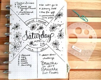 """MoxieDori Compass Protractor  - Bullet Point Journal Stencil, fits TN, Leuchtturm and Moleskine 5"""" by 7"""""""