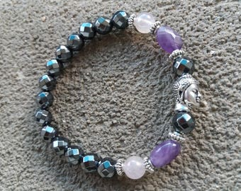 Please energized Bracelet please Hematite, amethyst and angel aura, Pearl Buddha zen metal high quality tierracast