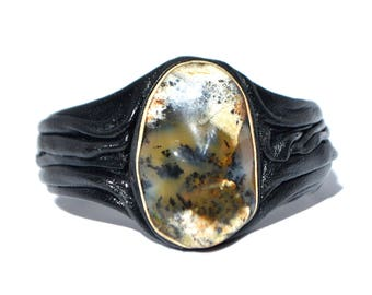 Leather bracelet with dendritic agate stone, Dendritic agate bracelet