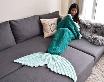 READY TO SHIP | Mermaid Tail Blanket| Crochet Mermaid Tail| Adult Mermaid Tail Blanket
