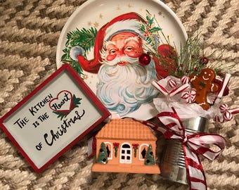 Vintage Christmas Kitchen Lot-Santa tray-Grab Bag!